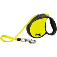 Flexi Neon Reflect Retractable Cord & Tape Dog Leash, Black/Yellow, Large