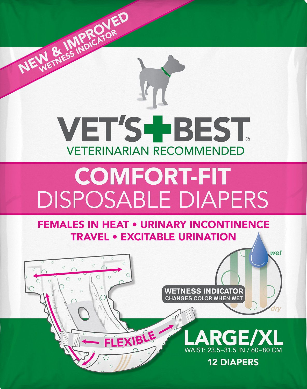 Vet\u0027s Best Comfort-Fit Disposable Diapers for Female Dogs Dogs, Large/X