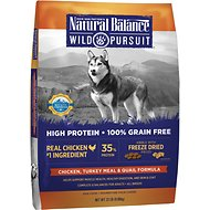 Natural Balance Wild Pursuit Chicken, Turkey Meal & Quail Formula Grain-Free Dry Dog Food, 22-lb bag