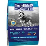 Natural Balance Wild Pursuit Trout, Salmon Meal & Tuna Formula Grain-Free Dry Dog Food, 22-lb bag