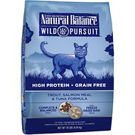 Natural Balance Wild Pursuit Trout, Salmon Meal & Tuna Formula Grain-Free Dry Cat Food, 10-lb bag