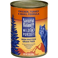 Natural Balance Wild Pursuit Chicken, Turkey & Quail Formula Grain-Free Canned Dog Food, 13-oz, case of 12
