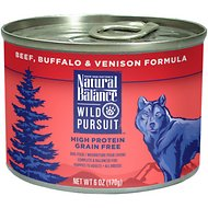 Natural Balance Wild Pursuit Beef, Buffalo & Venison Formula Grain-Free Canned Dog Food, 6-oz, case of 12