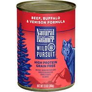 Natural Balance Wild Pursuit Beef, Buffalo & Venison Formula Grain-Free Canned Dog Food, 13-oz, case of 12