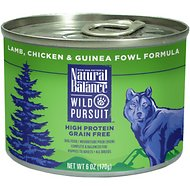 Natural Balance Wild Pursuit Lamb, Chicken & Guinea Fowl Formula Grain-Free Canned Dog Food, 6-oz, case of 12