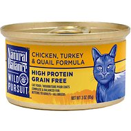 Natural Balance Wild Pursuit Chicken, Turkey & Quail Formula Grain-Free Canned Cat Food, 3-oz, case of 24