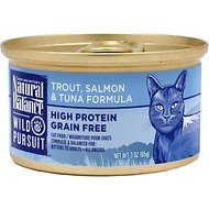 Natural Balance Wild Pursuit Trout, Salmon & Tuna Formula Grain-Free Canned Cat Food, 3-oz, case of 24