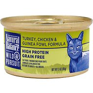 Natural Balance Wild Pursuit Turkey, Chicken & Guinea Fowl Formula Grain-Free Canned Cat Food, 3-oz, case of 24