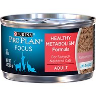Purina Pro Plan Focus Healthy Metabolism Formula Salmon Entrée in Sauce Adult Canned Cat Food, 3-oz, case of 24