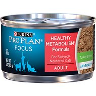 Purina Pro Plan Focus Healthy Metabolism Formula Turkey Entrée in Gravy Adult Canned Cat Food, 3-oz, case of 24