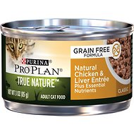 Purina Pro Plan True Nature Classic Natural Chicken & Liver Entree Grain-Free Canned Cat Food, 3-oz, case of 24