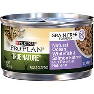 Purina Pro Plan Classic Adult True Nature Ocean Whitefish & Salmon Entrée Grain-Free Canned Cat Food, 3-oz, case of 24