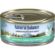 Natural Balance L.I.D. Limited Ingredient Diets Chicken & Green Pea Formula Canned Cat Food, 5.5-oz, case of 24