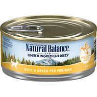 Natural Balance L.I.D. Limited Ingredient Diets Duck & Green Pea Formula Canned Cat Food, 5.5-oz, case of 24