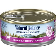 Natural Balance L.I.D. Limited Ingredient Diets Venison & Green Pea Formula Grain-Free Canned Cat Food, 5.5-oz, case of 24