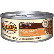 Nutro Adult Minced Chicken & Shrimp Cuisine in Tasty Gravy Grain-Free Canned Cat Food, 3-oz, case of 24