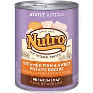 Nutro Adult Steamed Fish & Sweet Potato Recipe Canned Dog Food, 12.5-oz, case of 12