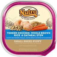 Nutro Small Breed Puppy Tender Chicken, Whole Brown Rice & Oatmeal Stew Dog Food Trays, 3.5-oz, case of 24