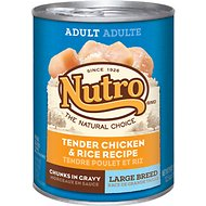 Nutro Large Breed Adult Tender Chicken & Rice Recipe Chunks in Gravy Canned Dog Food, 12.5-oz, case of 12