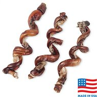 "USA Bones & Chews Curly Bully Stick 6-9"" Dog Chew Treats, 3 count"