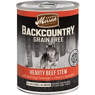 Merrick Backcountry Grain-Free Hearty Beef Stew Canned Dog Food, 12.7-oz, case of 12