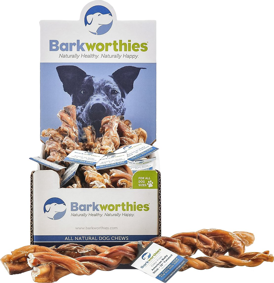 barkworthies odor free american twisted 12 bully sticks dog treats case of 20. Black Bedroom Furniture Sets. Home Design Ideas
