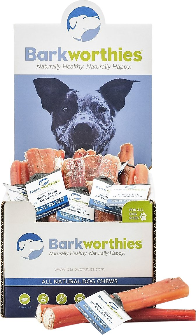 barkworthies odor free double cut 6 bully sticks dog treats case of 50. Black Bedroom Furniture Sets. Home Design Ideas