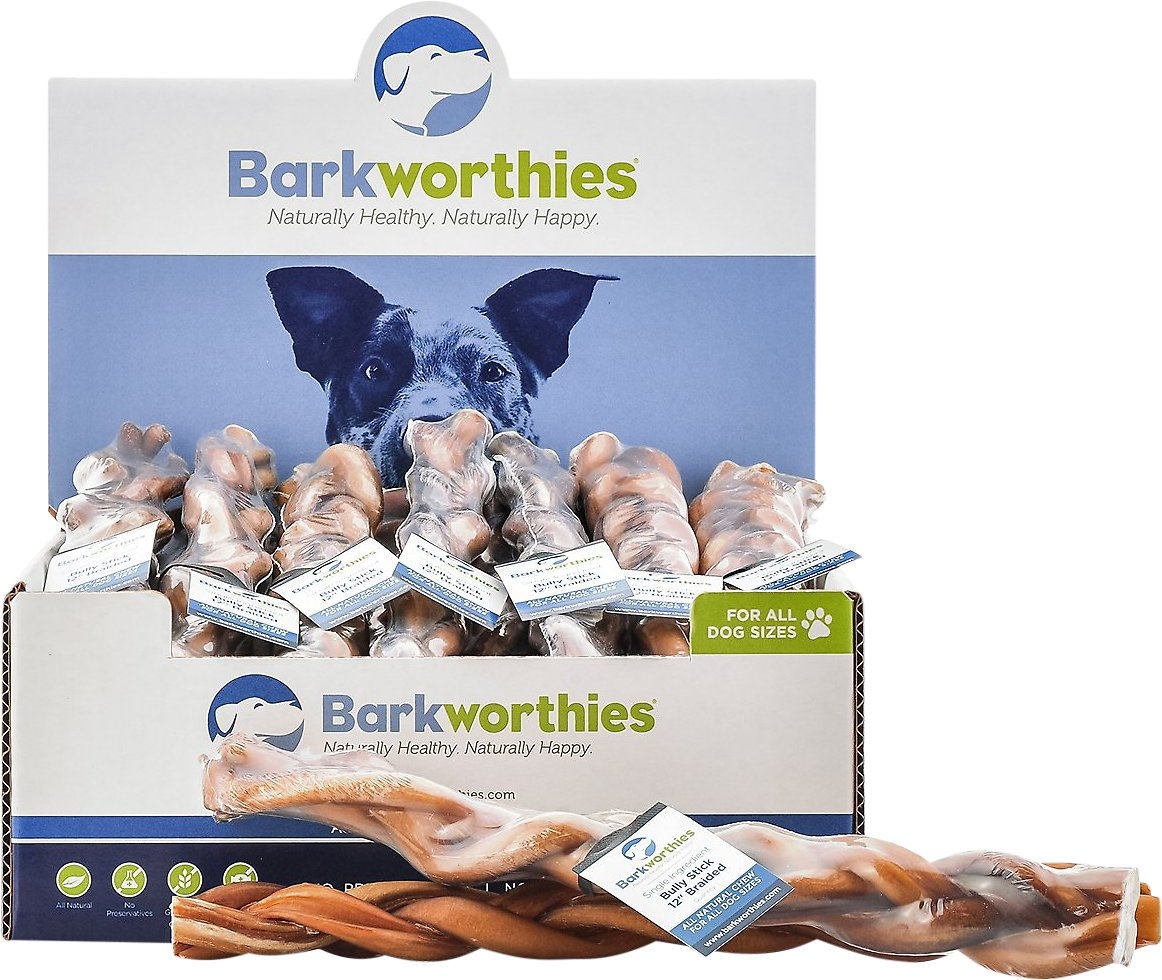 barkworthies braided 12 bully sticks dog treats case of 25. Black Bedroom Furniture Sets. Home Design Ideas
