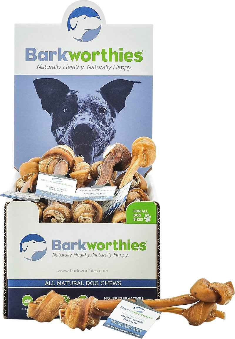 barkworthies skinny knotted bone bully sticks dog treats case of 25. Black Bedroom Furniture Sets. Home Design Ideas