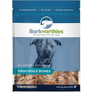 Barkworthies Crocodile Bones Dog Treats, 5-oz bag
