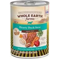 Whole Earth Farms Grain-Free Hearty Duck Stew Canned Dog Food, 12.7-oz, case of 12