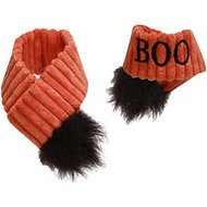 HuggleHounds Halloween BOO Scarf Dog Costume, Medium