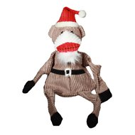 HuggleHounds Holiday Knottie Santa Sock Monkey Dog Toy, Super Size