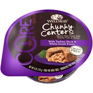 Wellness CORE Chunky Centers with Turkey, Duck & White Sweet Potato Grain-Free Wet Dog Food, 6-oz, case of 24