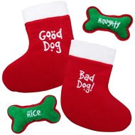 Outward Hound Holiday Good Dog/Bad Dog Dual Sided Stocking with Squeaking Toy