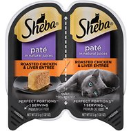 Sheba Perfect Portions Grain-Free Roasted Chicken & Liver Entree Cat Food Trays, 2.6-oz, case of 24 twin-packs