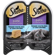 Sheba Perfect Portions Grain-Free Tender Whitefish & Tuna Entree Cat Food Trays, 2.6-oz, case of 24 twin-packs