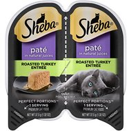Sheba Perfect Portions Grain-Free Roasted Turkey Entree Cat Food Trays, 2.6-oz, case of 24 twin-packs