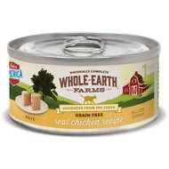 Whole Earth Farms Grain-Free Real Chicken Pate Recipe Canned Cat Food, 5-oz, case of 24