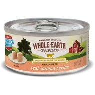 Whole Earth Farms Grain-Free Real Salmon Pate Recipe Canned Cat Food, 5-oz, case of 24