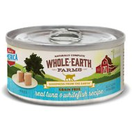 Whole Earth Farms Grain-Free Real Tuna & Whitefish Pate Recipe Canned Cat Food, 5-oz, case of 24