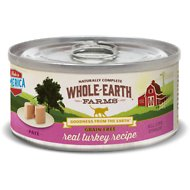 Whole Earth Farms Grain-Free Real Turkey Pate Recipe Canned Cat Food, 2.75-oz, case of 24