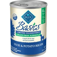 Blue Buffalo Basics Limited Ingredient Grain-Free Duck & Potato Adult Canned Dog Food, 12.5-oz, case of 12