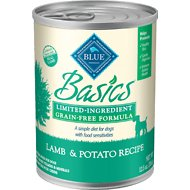 Blue Buffalo Basics Limited Ingredient Grain-Free Lamb & Potato Adult Canned Dog Food, 12.5-oz, case of 12