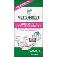 Vet's Best Comfort-Fit Disposable Diapers for Female Dogs, X-Small