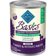 Blue Buffalo Basics Limited Ingredient Grain-Free Turkey & Potato Senior Canned Dog Food, 12.5-oz, case of 12
