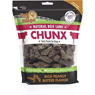 Pet 'n Shape Beef Lung CHUNX Peanut Butter Flavor Dog Treats, 1-lb bag