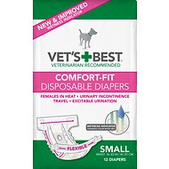 Vet's Best Comfort-Fit Disposable Diapers for Female Dogs, Small