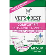 Vet's Best Comfort-Fit Disposable Diapers for Female Dogs, Medium