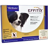 Virbac Effitix Topical Solution for Dogs, 5-10.9 lbs, 3 treatments